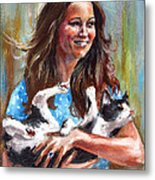 Kate Middleton Duchess Of Cambridge And Her Royal Baby Cat Metal Print
