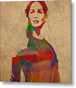 Katniss Everdeen From Hunger Games Jennifer Lawrence Watercolor Portrait On Worn Parchment Metal Print