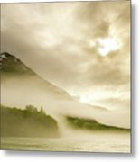 Kayaker And Marine Fog On The Alsek Metal Print