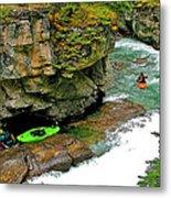 Kayakers In Maligne Canyon In Jasper Np-alberta Metal Print