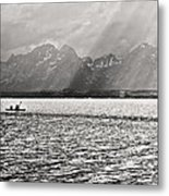 Kayakers On Jackson Lake Metal Print