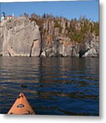 Kayaking Beneath The Light Metal Print
