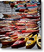 Kayaks At Rockport Metal Print