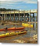Kayaks By The Pier Metal Print