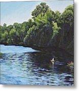 Kayaks On Rainbow River Metal Print by Penny Birch-Williams