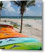 Kayaks On The Beach Metal Print