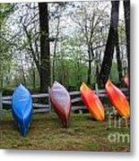 Kayaks Waiting Metal Print by Michael Mooney