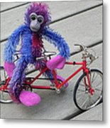 Toy Monkey On Toy Bike Metal Print