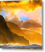 Ke'e Beach Sunset Metal Print