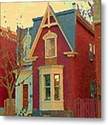 Keep A Light In The Window Til I Come Home Again Winter House Pointe St Charles City Scene Cspandau  Metal Print