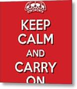 Keep Calm 2 Red Metal Print