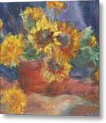 Keep On The Sunny Side - Original Contemporary Impressionist Painting - Sunflower Bouquet Metal Print
