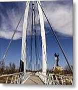 Keeper Of The Plains Bridge View Metal Print
