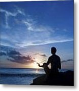 Keeping Sun - Young Man Meditating On The Beach Metal Print