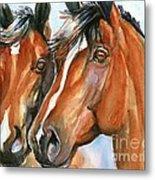Horse Painting Keeping Watch Metal Print