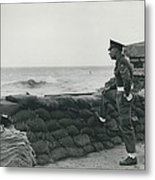 Keeping Watch On The High Tides At Lyn Mouth Metal Print