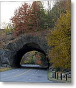 Kelly Drive Rock Tunnel In Autumn Metal Print by Bill Cannon