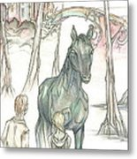 Kelpie Encounter Metal Print