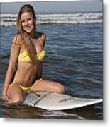 Kelsi In The Ocean Metal Print