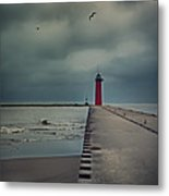 Kenosha North Pier Lighthouse - Dark And Stormy Metal Print