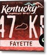 Kentucky License Plate Metal Print