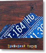 Kentucky License Plate Map The Bluegrass State Metal Print