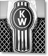 Kenworth Truck Emblem -1196bw Metal Print