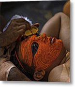 Kerala - A Theyyam-dancer Receives The Ornamental Face-painting Metal Print