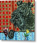 Kerry Blue Terrier At The Wine Bar Metal Print by Jay  Schmetz