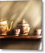 Kettle - My Grandmother's Chinese Tea Set  Metal Print by Mike Savad