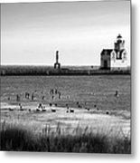 Kewaunee Lighthouse In Bandw Metal Print