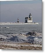 Kewaunee Lighthouse In Winter Metal Print