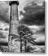 Key Biscayne Fl Lighthouse Black And White Img 7167 Metal Print