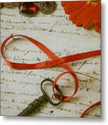 Key On Red Ribbon Metal Print