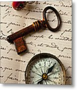 Key Ring And Compass Metal Print