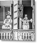 Key West Christmas Decorations 2 - Black And White Metal Print