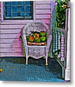 Key West Coconuts - Colorful House Porch Metal Print