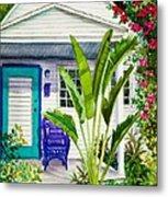 Key West Cottage Watercolor Metal Print