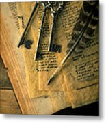Keys And Quill On Old Papers Metal Print