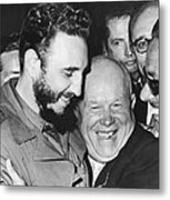 Khrushchev And Castro Metal Print