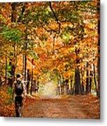 Kid With Backpack Walking In Fall Colors Metal Print