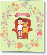 Kid With Golden Retriever Dog On The Metal Print