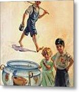 Kids And Fishing  1934 Metal Print