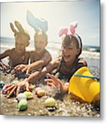 Kids playing in sea during summer Easter Metal Print