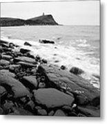 Kimmeridge Bay In Black And White Metal Print
