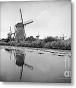 Kinderdijk In Black And White Metal Print