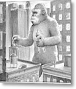 King Kong Stands In A Large City Metal Print