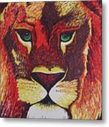 Lion In Orange Metal Print