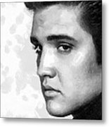 King Of Rock Elvis Presley Black And White Metal Print