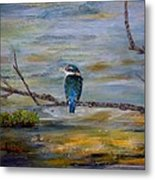 Kingfisher Over Estuary Metal Print
